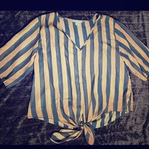 Tops - Striped tied blouse